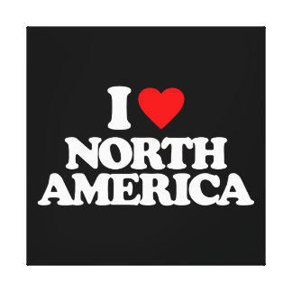 I LOVE NORTH AMERICA STRETCHED CANVAS PRINTS