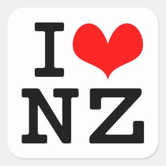 I Love NZ Square Sticker