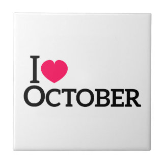 I love October Small Square Tile