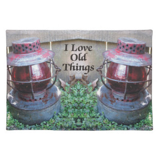 I Love Old Things Antique Lanterns Placemat