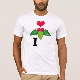 I Love/One Heart Love Mistletoe Black T-Shirt