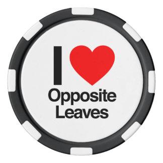 i love opposite leaves set of poker chips