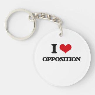 I Love Opposition Acrylic Keychain