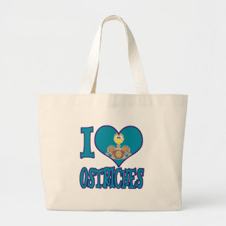 I Love ostriches Large Tote Bag