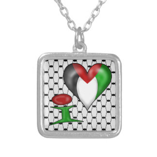 I love Palestine Silver Plated Necklace
