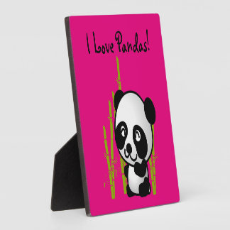 I Love Pandas! Panda bear with bamboo Plaque