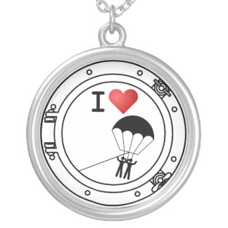 I Love Parasailing Silver Plated Necklace