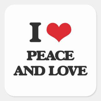I love Peace And Love Square Sticker