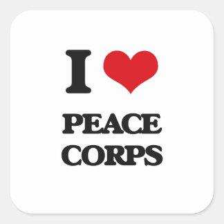 I Love Peace Corps Square Sticker