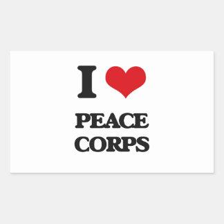 I Love Peace Corps Rectangular Stickers