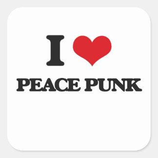 I Love PEACE PUNK Square Stickers