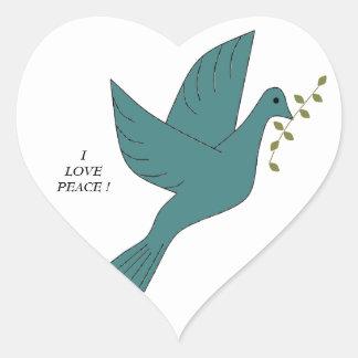 I LOVE PEACE ! HEART STICKERS