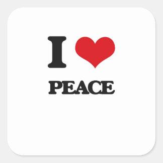 I Love Peace Square Sticker