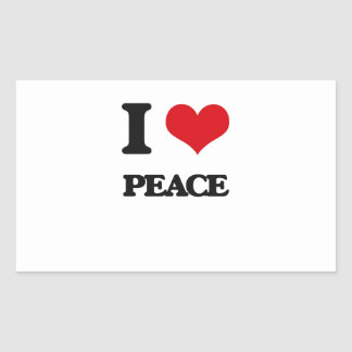 I Love Peace Rectangle Stickers