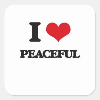 I Love Peaceful Square Stickers