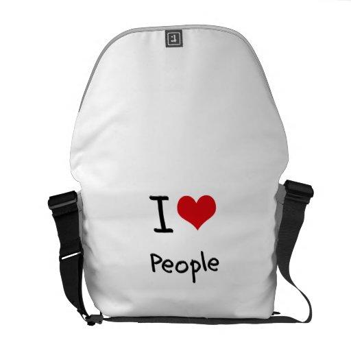 I love People Messenger Bag