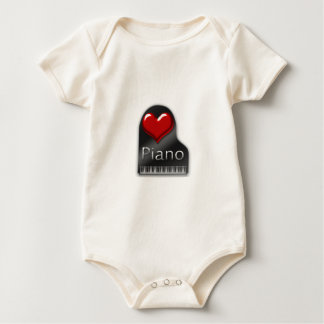 I Love Piano Baby Bodysuit