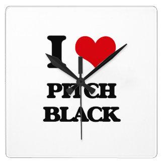 I Love Pitch Black Square Wall Clock