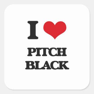 I Love Pitch Black Square Sticker