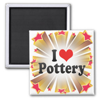 I Love Pottery Square Magnet
