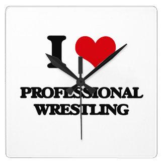 I Love Professional Wrestling Wallclocks