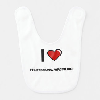 I Love Professional Wrestling Digital Retro Design Baby Bib