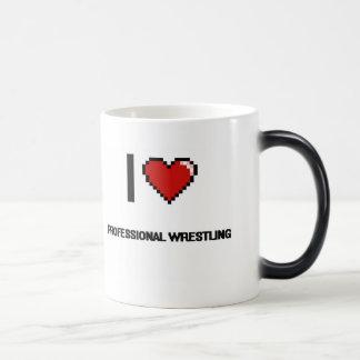 I Love Professional Wrestling Digital Retro Design Morphing Mug