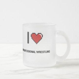 I Love Professional Wrestling Digital Retro Design Frosted Glass Mug
