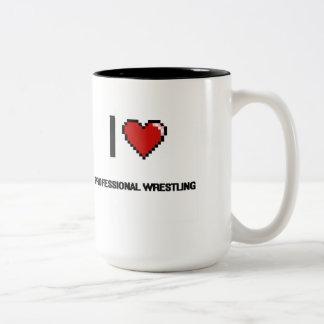 I Love Professional Wrestling Digital Retro Design Two-Tone Mug