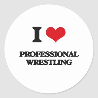 I Love Professional Wrestling Round Stickers