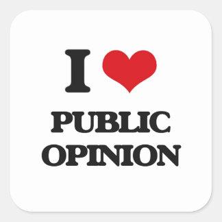 I Love Public Opinion Square Sticker