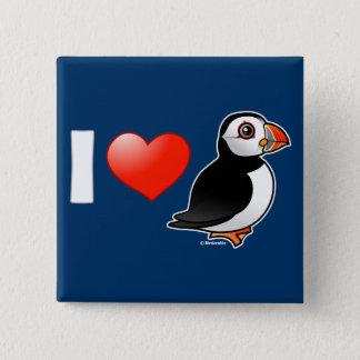 I Love Puffins 15 Cm Square Badge