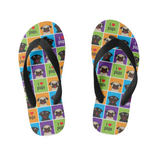 I Love Pugs Colour Squares Kid's Jandals