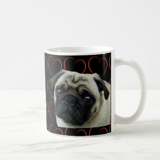 I Love Pugs with Hearts Basic White Mug