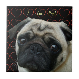I Love Pugs with Hearts Small Square Tile
