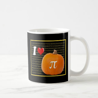 I Love Pumpkin Pie and Pi Math Numbers Orange Gold Coffee Mug