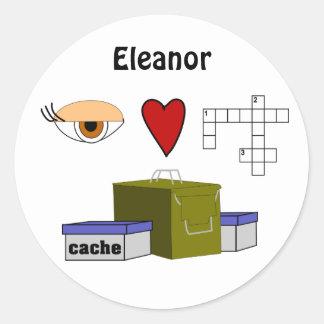 I Love Puzzle Caches Rebus Geocaching Name Custom Round Sticker