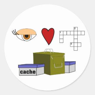 I Love Puzzle Caches Rebus Geocaching Swag Custom Round Sticker