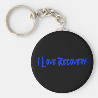 I Love Recovery Basic Round Button Key Ring