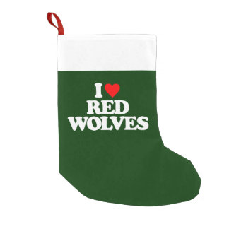 I LOVE RED WOLVES SMALL CHRISTMAS STOCKING