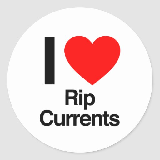 i love rip currents round stickers