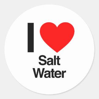 i love salt water round stickers