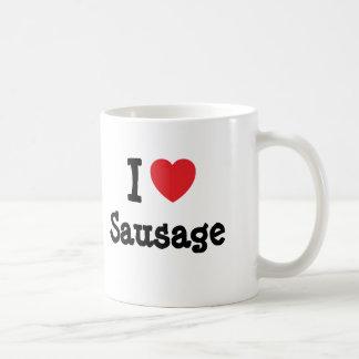 I love Sausage heart T-Shirt Basic White Mug