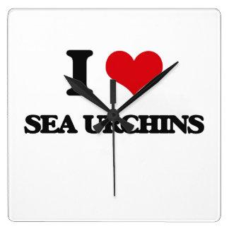 I love Sea Urchins Square Wall Clock