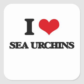 I love Sea Urchins Square Stickers