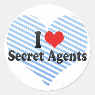 I Love Secret Agents Round Sticker