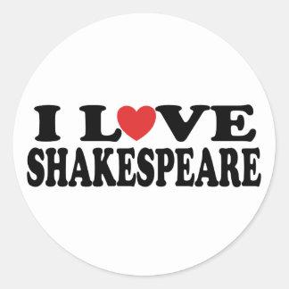 I Love Shakespeare Gift Classic Round Sticker
