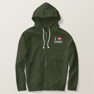 I Love Shibas Embroidered Hoodie