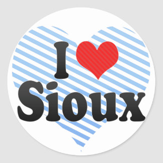 I Love Sioux Classic Round Sticker