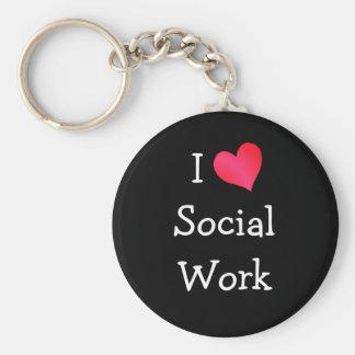 I Love Social Work Basic Round Button Key Ring
